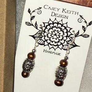 Casey Keith Design Jewelry - Bronze Pearl Earrings